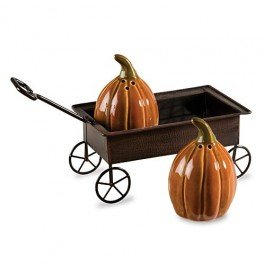 Creative Co-Op Pumpkin Wagon 3-piece Salt & Pepper Shaker Set