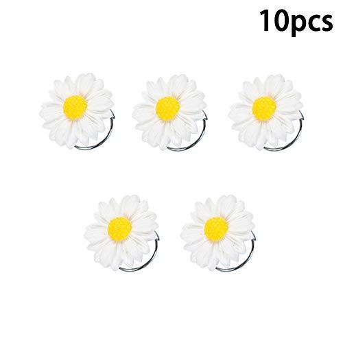 Vpang 10 Pcs Resin Daisy Spiral Hair Pins Swirl Hair Twists Coils Hair Clips Wedding Bridal Flower Spiral Twist Hairpins Hair Accessories