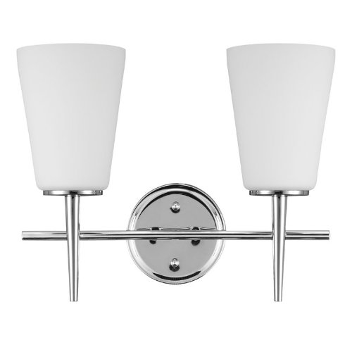 Sea Gull Lighting 4440402BLE-05, Driscoll Glass Energy Star Vanity Lighting, 2LT CFL, Chrome