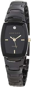 AK Anne Klein Women's AK/1017BKBK Ceramic Diamond Dial Black Bracelet Watch