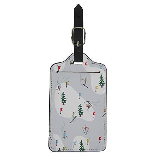 (Semtomn Luggage Tag Watercolor Ski Winter Skiing Leisure Alpine Alps Brand Branding Suitcase Baggage Label Travel Tag Labels)