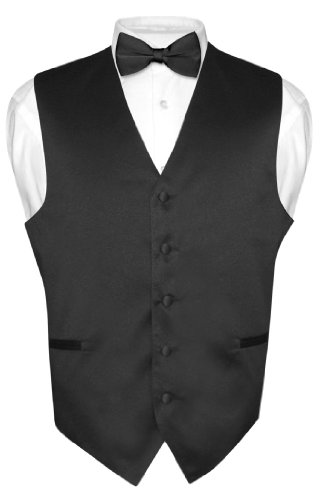 Mens Solid Suit Black (Men's Dress Vest & BowTie Solid BLACK Color Bow Tie Set for Suit or Tuxedo Large)