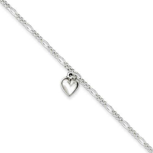 Black Bow Jewelry Sterling Silver Figaro Chain Dangling Heart Adjustable Anklet, 9 Inch