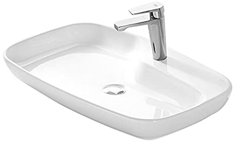 Cera Style 074400 U One Hole Nova Rectangular Ceramic Vessel Sink, White by Cera Style