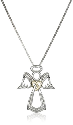 Love Knot Sterling Silver and 14k Yellow Gold Angel White Diamond-Accent Pendant Necklace