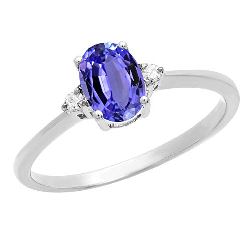 Dazzlingrock Collection 10K 7X5 MM Oval Tanzanite & Round Diamond Bridal Promise Engagement Ring, White Gold, Size 7 ()