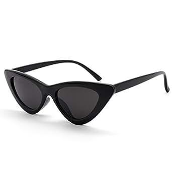 Livhò Retro Vintage Narrow Cat Eye Sunglasses for Women Clout Goggles Plastic Frame