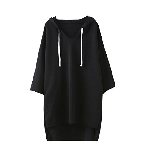 Lucoo Luxury Fashion comfortable Women Long Sleeve Hoodie Sweatshirt Sweater Casual Hooded Coat Pullover (Black)