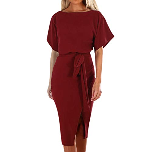 (Dress for Women Elegant Short Sleeve Solid Color Workwear Pencil Dress with Belt (L, Wine))