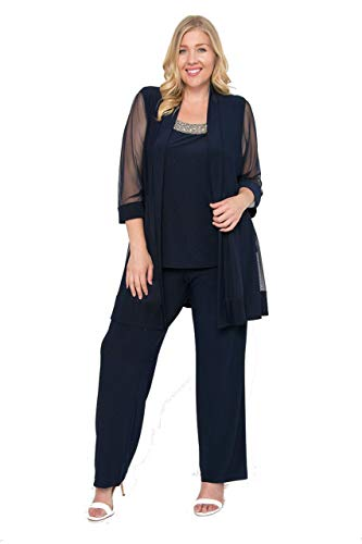 R&M Richards Long Formal Pants Suit Plus Size Dress - Navy - 20W