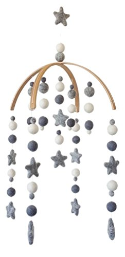 Tik Tak Design Co. Baby Crib Mobile - 100% NZ Wool Colored Felt Ball Mobile for Your Boy or Girl Babies Bed Room - Designer Colors to Match Your Nursery and Delight Your Child (Grey & White)