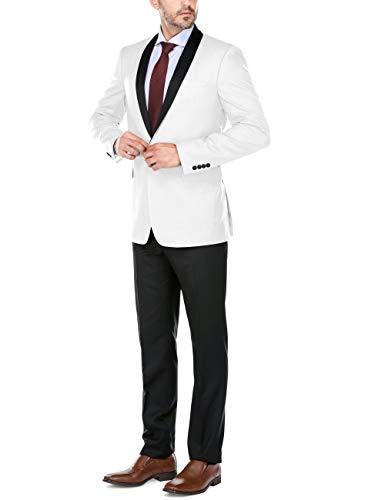 CHAMA Men's Tuxedo Suit Shawl Lapel Slim Fit 1 Button Single Breasted Tuxedo (40 Regular /34 Waist, -
