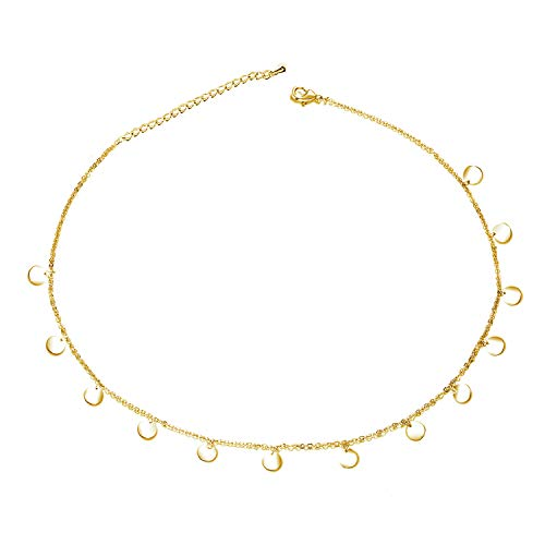 Disc Gold Filled (EGOO YAMEE Gold Disc Choker Necklace Dainty Handmade Coin Boho Necklace for Women Girls)