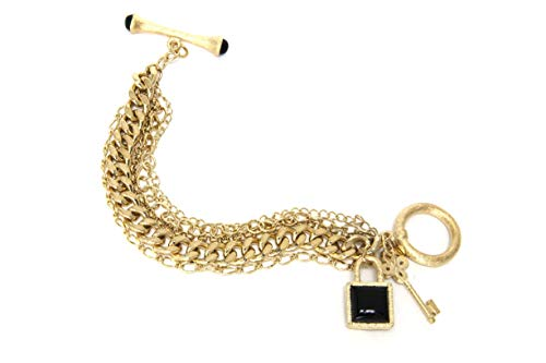 Rivka Friedman 18K Gold Clad Multi Chain Gold Gem Stone Charm Toggle Bracelet