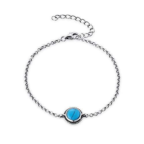Agvana Sterling Silver Created Turquoise Chakra Bracelet Jewelry Gifts for Mom Women Girls Adjustable Chain 6.7 1.6