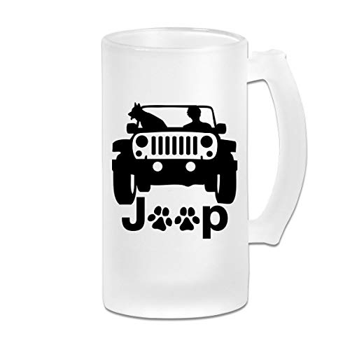 Poii Qon My Dog and Jeep 16 Oz Frosted Glass Stein Wine Beer Mug Great Gift ()