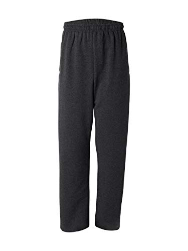 Jerzees Dri-Power Poly Pocketed Open-Bottom Sweatpants, X-Large - Black Heather -