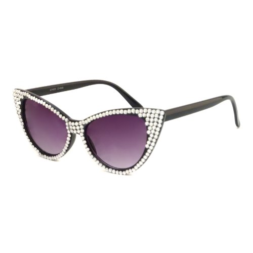 CAT EYE Womens Vintage 50s 80s Party Style Sunglasses With Rhinestone - 50s Sunglasses Style