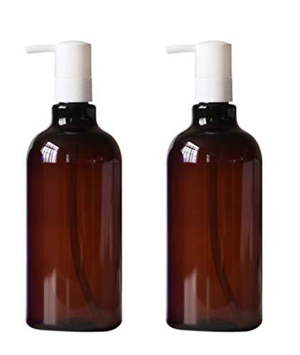 2PCS 500ML /17 oz Empty BPA Free Plastic Pump Bottles Container Dispenser Jars Pot For Bath Shower Liquid Body Wash Bathroom Lotion Soap Cream Cleaner Toiletries Liquid(Brown) from TUPWEL