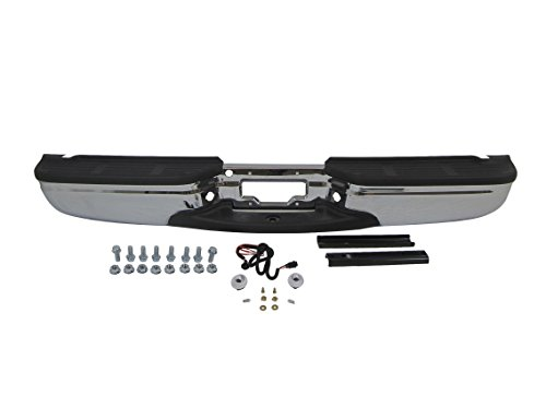 99-07 FORD SUPER DUTY F250 F350 450 550 REAR STEP BUMPER CHROME FULL ASSY WITH BRACKETS, WITH PADS, WITH HITCH, WITH LICENSE LAMP & CABLE (WITHOUT SENSOR HOLE)(OEM TYPE) - Ford Bumpers Aftermarket