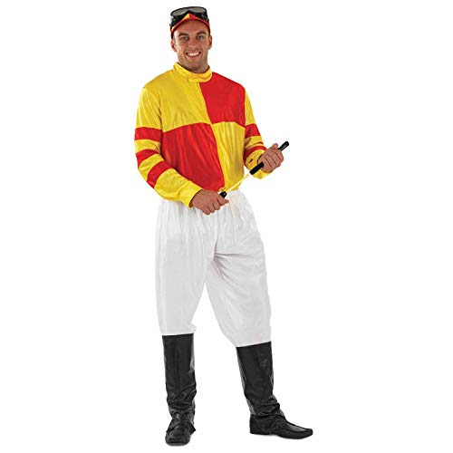 Mens Jockey Costume Adults Red & Yellow Horse Rider Uniform Racing Outfit -