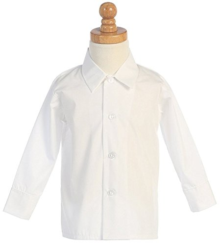 Lito Boys Infant Toddler Child White Long Sleeved Simple Dress Shirt - 5 X-Small