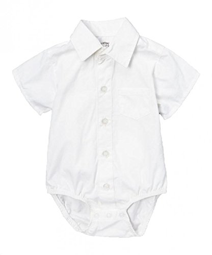 Littlest Prince Couture Infant/Toddler/Youth Short Sleeve White Dress Shirt Bodysuit 18 Months -