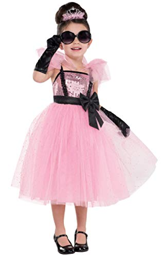 Girls Glam Pink Tutu Princess Diva TV Film Pop Star Famous 4 Piece Fancy Dress Costume Outfit 3-6 Years (3-4 Years) -