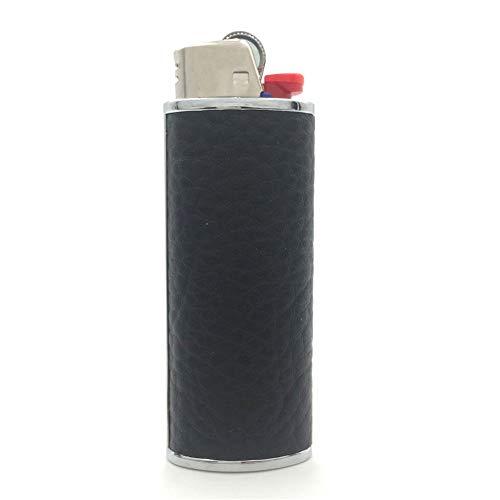 Lucklybestseller Metal Black Leather Lighter Case Cover Holder for BIC Full Size Lighter Type J6