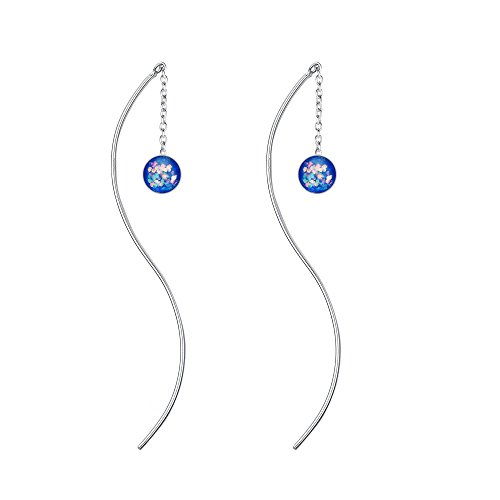 BriLove 925 Sterling Silver Threader Earrings Bohemian Boho Curved Pin Glitter Crystal Women Earrings Sapphire Color AB Round Shape