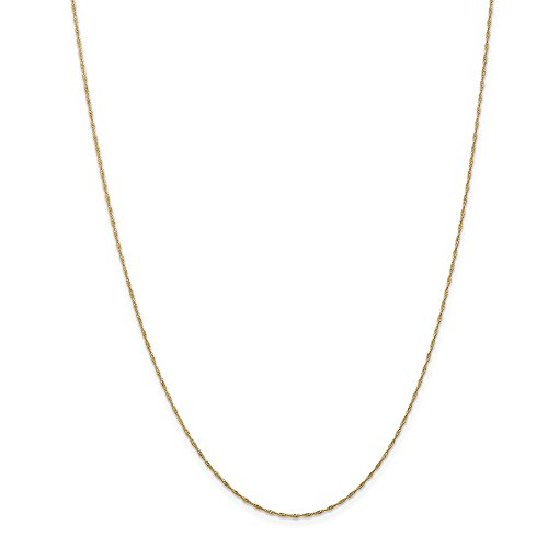 (14k Gold Solid Diamond-Cut Singapore Chain Necklace with Spring Ring (0.9mm) - Yellow-Gold, 24 in)