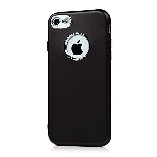 Badalink 2 x Coque pour iPhone7, Case Housse Étui Bumper Coque de Protection TPU Silicone Gel Transparent Souple Flexible Ultra Mince Slim Léger Anti Rayure Antichoc Housse Motif Rouge Noir