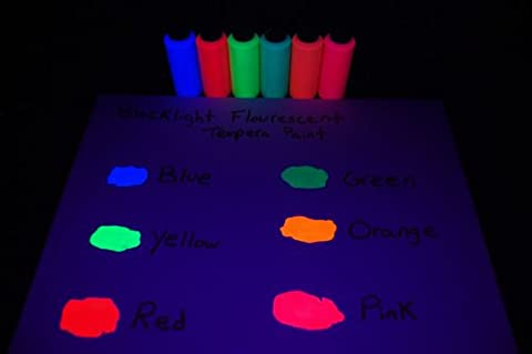 DirectGlow Brand Assorted Blacklight Reactive Fluorescent Tempera Paints, 6 Pack 2oz - Fluorescent Pink Poster Board
