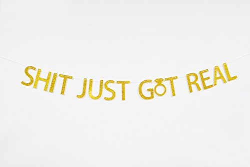 Firefairy™ Shit Just Got Real Gold Glitter Bunting Banner for Funny Wedding, Engagement, Bachelorette,Pregnancy Announcement,Bar (Just Married Decorations)