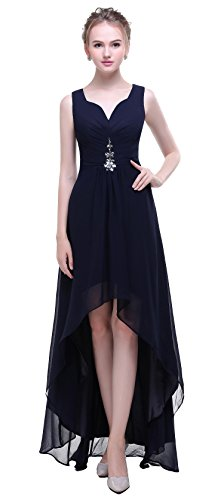 Bislu V Neck Chiffon High Low Bridesmaid Evening Gowns Prom Dresses Navy 16