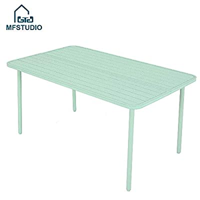 "MF STUDIO 59"" x 35""x28"" Outdoor Dining Slat Table Rectangle Patio Bistro Table Powder-Coated Steel Frame Home Metal Table Stand Deck Outdoor Furniture Garden Table, Green - 【STYLISH INDOOR AND OUTDOOR DINING TABLE】This metal dining table has a slatted design and will add a touch of industrial style to your patio, garden or terrace; This weather resistant table could be used as a balcony coffee table,outdoor patio table,garden table,backyard table,pool side table and more. 【WEATHER RESISTANT AND STURDY】Made of weather-resistant E-coated and powder-coated steel, the table is very sturdy and durable for long years use; Need no special maintenance,rust and weather resistant,Easy to clean. 【EASY TO ASSEMBLE】The dining table is easy to clean and maintain thanks to the finish.Dimension:59.1"" x 35.4"" x 28.3"" (L x W x H). - patio-tables, patio-furniture, patio - 318y5UGGm0L. SS400  -"