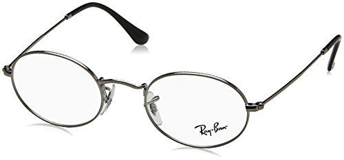 Ray-Ban RX3547V Oval Metal Eyeglass Frames, Gunmetal/Demo Lens, 48 mm