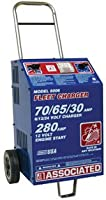 Associated Equipment 6006 6/12/24V 70/65/30 Amp Charge 280 Amp Cranking Assist Charger with Wheels