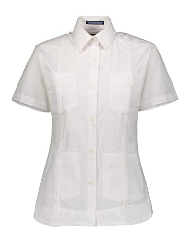 AKA Women's Guayabera Shirt Wrinkle Free Short Sleeve Linen Look White Small