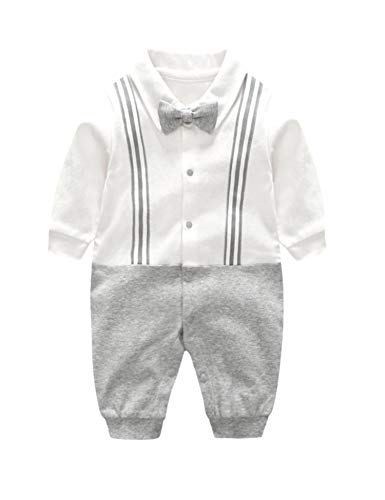 - D.B.PRINCE Baby Boys Long Sleeves Gentleman Cotton Rompers Small Suit Bodysuit Outfit with Bow Tie (White, 6-9 Months)