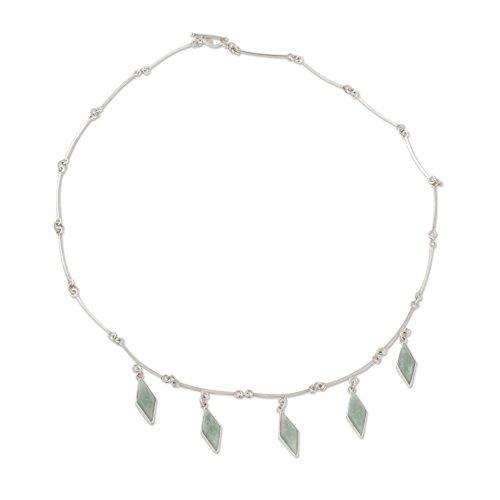 NOVICA Jade .925 Sterling Silver Pendant Necklace, 18