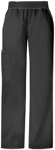 Cherokee Women's Flexibles (Contrast) Mid Rise Knit Waist Pull-on Pant, Black, 5X-Large
