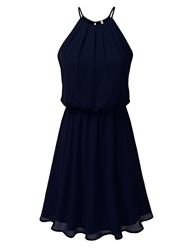Double Halter - DRESSIS Womens Double Layered Chiffon Mini Tank Dress Navy L
