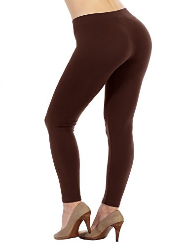 FACA Womens PLUS SIZE 1 Pack Seamless Full Length Long Leggings (Plus Size, Brown)