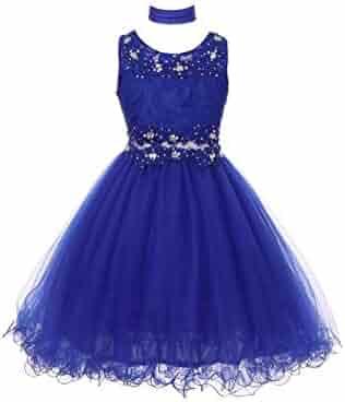 48ea74310f2 Cinderella Couture Big Girls Royal Blue Lace Mesh Rhinestone Wired Flower  Girl Dress 8-16