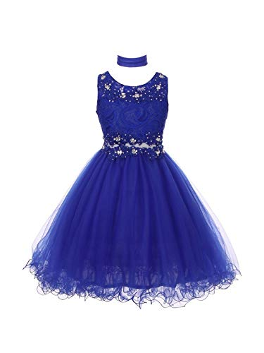 Cinderella Couture Big Girls Royal Blue Lace Mesh Rhinestone Wired Flower Girl Dress 20 from Cinderella Couture