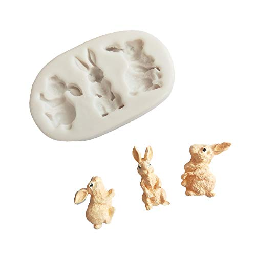 Makwes Easter Rabbit Cute Fondant Mold DIY Cake Maker Silicone Decorating Baking Tool,Baking Model,Rabbit Shape Cake Mould,for Kids,Adults Bento Lunch Box Accessories]()
