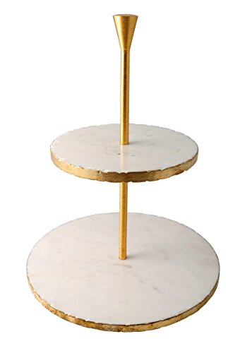 Thirstystone NMCH023 Old Hollywood 2-Tier Marble Dessert Stand, Gold