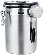 ZWOOS Kaffeburk lufttät – kaffebönor behållare i rostfritt stål med CO2-ventil – med mätsked – 1,8 l (silver)