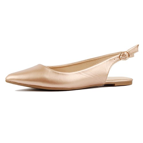 Flats Rosegold Dressy Toe Pu Casual Pointy Shoe Comfortable On Heart Guilty Slingback Slip Womens 7H11wP